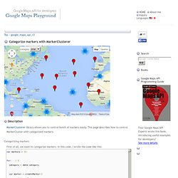 Categorize markers with MarkerClusterer - Google Maps Playground