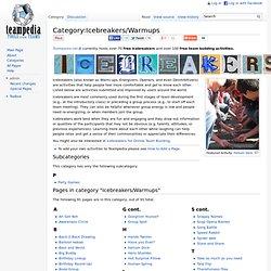 Category:Icebreakers/Warmups