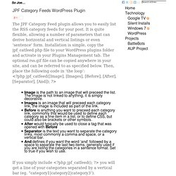 JPF Category Feeds Wordpress Plugin