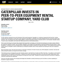 Caterpillar Invests in Peer-to-Peer Equipment Rental Startup Company, Yard Club