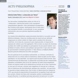 """Catherine Colliot-Thélène : La démocratie sans """"démos"""""""