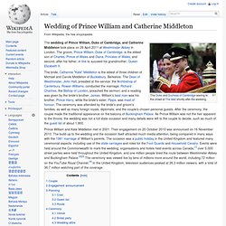 Wedding of Prince William, Duke of Cambridge, and Catherine Middleton