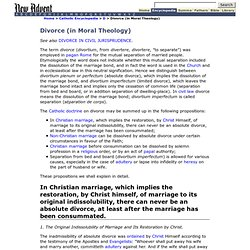 Divorce (In Moral Theology)