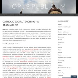 Catholic Social Teaching – A Reading List