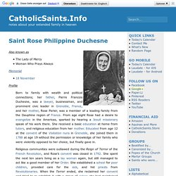CatholicSaints.Info » Blog Archive » Saint Rose Philippine Duchesne