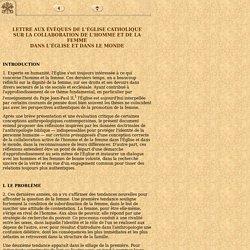 Lettre aux Évêques de l'Église Catholique sur la collaboration de l'homme et de la femme dans l'Église et dans le monde