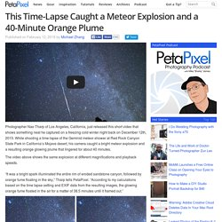 This Time-Lapse Caught a Meteor Explosion and a 40-Minute Orange Plume