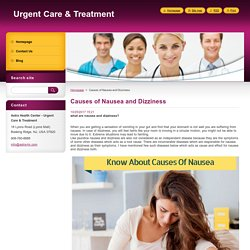 Causes of Nausea and Dizziness