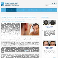 CAUSES OF HAIR LOSS, HAIR LOSS TREATMENT, REASON OF HAIR LOSS