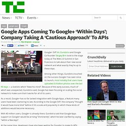 Google Apps Coming To Google+ 'Within Days'; Company Taking A 'Cautious Approach' To APIs