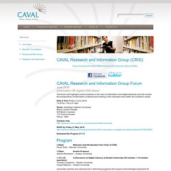 CAVAL Research and Information Group (CRIG)