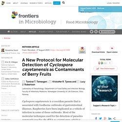 FRONT. MICROBIOL. 27/08/19 A New Protocol for Molecular Detection of Cyclospora cayetanensis as Contaminants of Berry Fruits