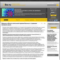Прорыв в области клеточной терапии больных с травмами головного мозга. CBio.