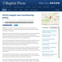 10/3/16: CCCU adopts new membership policy