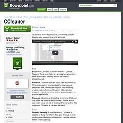CCleaner - Free software downloads and software reviews