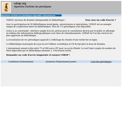 CD-RAP - Répertoire d'articles de périodiques dépouillés collectivement [fr]