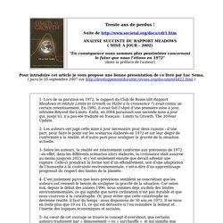 CDR2 - Rapport Meadows - Club de Rome - mise à jour 2002
