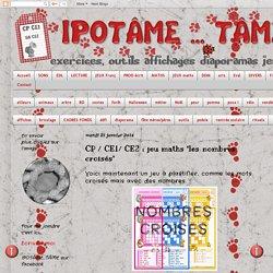 """CP / CE1/ CE2 : jeu maths """"les nombres croisés"""""""