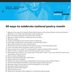 30 Ways to Celebrate National Poetry Month
