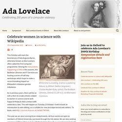 Celebrate women in science with Wikipedia – Ada Lovelace