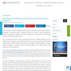 OSI Celebrates Publication of its Articles in BC Advantage Magazine