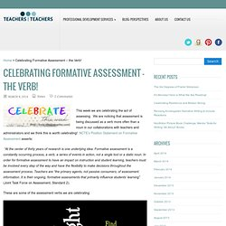 Celebrating Formative Assessment – the Verb!