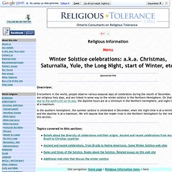 Winter solstice celebrations of Christianity, Judaism, Neopaganism, etc
