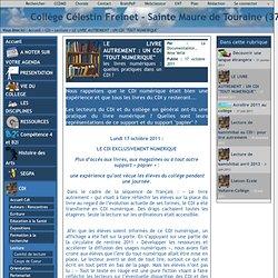"""Collège Célestin Freinet - Sainte Maure de Touraine (37) - LE LIVRE AUTREMENT : UN CDI """"TOUT NUMERIQUE"""""""