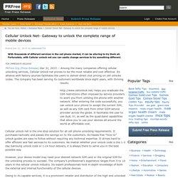 Cellular Unlock net Easily Change Services