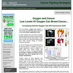 Oxygen and Cancer - How cellular oxygenation kills cancerous cells