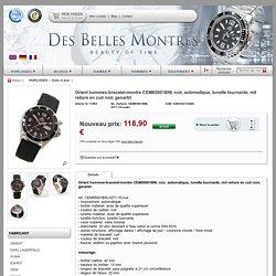 Orient hommes-bracelet-montre CEM65001BW, noir, automatique, lunette tournante, mit reliure en cuir noir, genarbt HORLOGES Date et jour