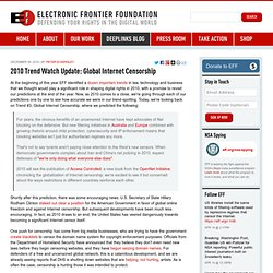 2010 Trend Watch Update: Global Internet Censorship