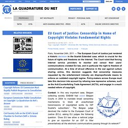 EU Court of Justice: Censorship in Name of Copyright Violates Fundamental Rights