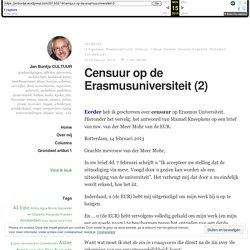 Censuur op de Erasmusuniversiteit (2) – Jan Bontje CULTUUR