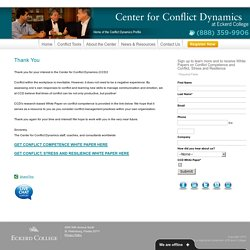 Center for Conflict Dynamics - Thank You