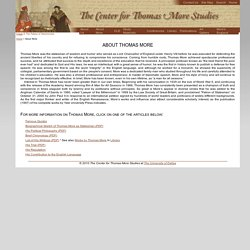 The Center for Thomas More Studies: About Thomas More