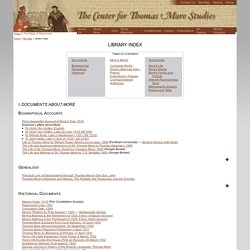 The Center for Thomas More Studies: Library Index