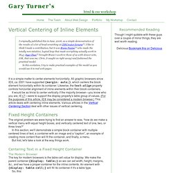 Centering Inline Elements | Vertical Centering | HTML & CSS Workshop | Gary Turner Web Development