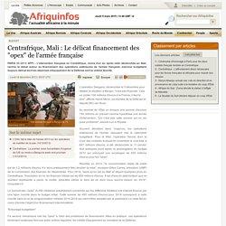 """Centrafrique, Mali : Le délicat financement des """"opex"""" de l'armée française"""