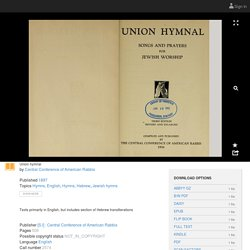 Union hymnal : Central Conference of American Rabbis