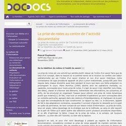 La prise de notes au centre de l'activité documentaire - Doc pour docs