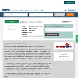 Job Centre Plus Co-ordinator Job in Milton Keynes