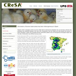 CRESA - OCT 2011 - Elimination of bovine tuberculosis has been heterogeneous in Spain