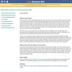 Law centres - Alternative careers in and around the law