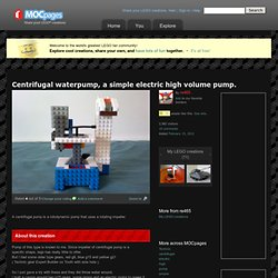 Centrifugal waterpump, a simple electric high volume pump.: A LEGO® creation by re465 .