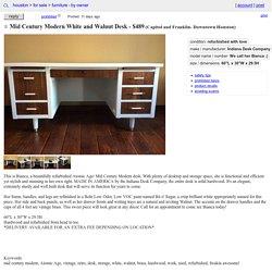 Mid Century Modern White and Walnut Desk
