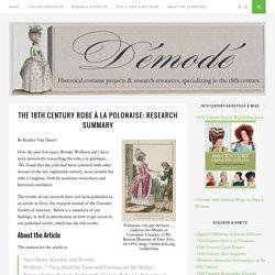 The 18th Century Robe à la Polonaise: Research Summary – Démodé