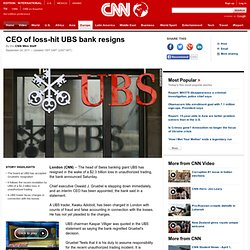CEO of loss-hit UBS bank resigns