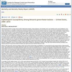 Cephalosporin Susceptibility Among Neisseria gonorrhoeae Isolates