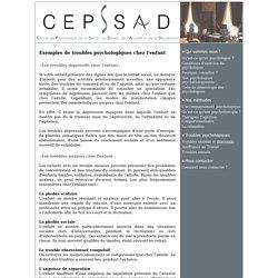 CEPSSAD : Les troubles chez l'enfant